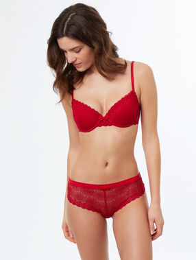 Lace hipsters red.