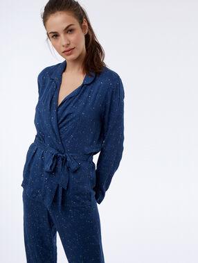 Star pattern wrap shirt blue.