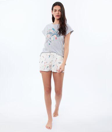 Feather print shorts ecru.