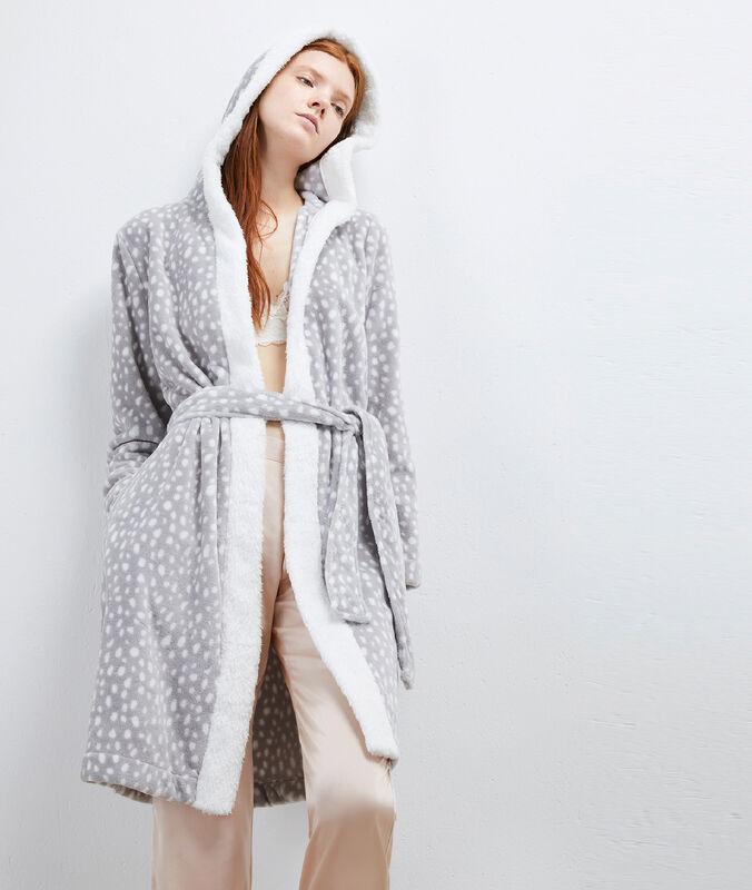 Déshabillé homewear en fausse fourrure gris.