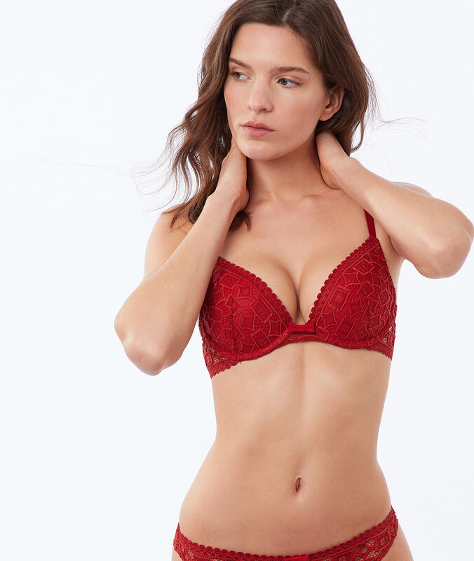Bra no. 2 - plunging push-up, embossed lace red brick.