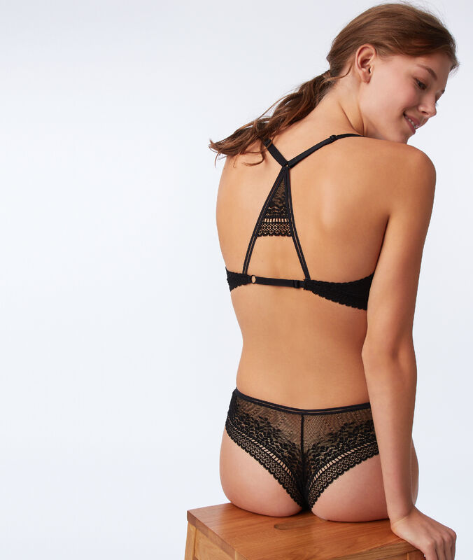 Bra no. 6 - lace padded triangle bra, racer back black.
