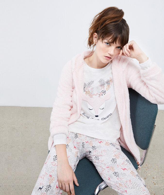 Three-piece doe print pyjama set pink.