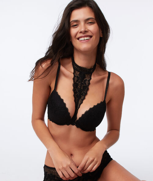 Bra n°5 - classic padded lace bra with removable choker
