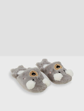 3d mule slippers grey.