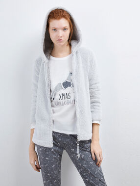 Three-piece pyjama set with a star shape zip puller gris clair.