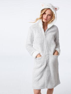 Cat fluffy jacket grey.