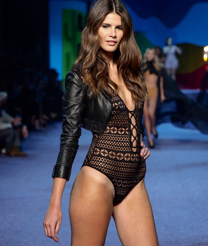 Lace thong bodysuit black.