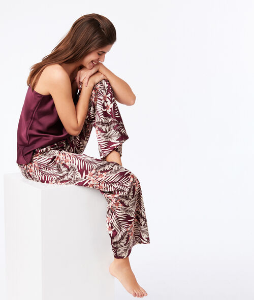 Floral satin trousers