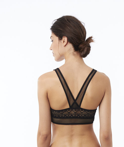 Ornate lace bra with crossed back