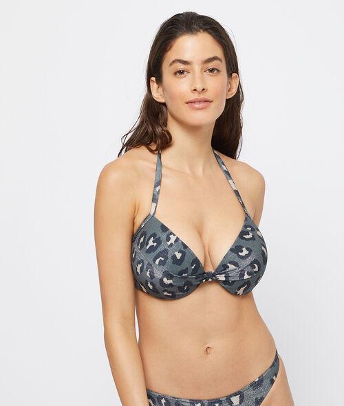 Leopard padded bikini top