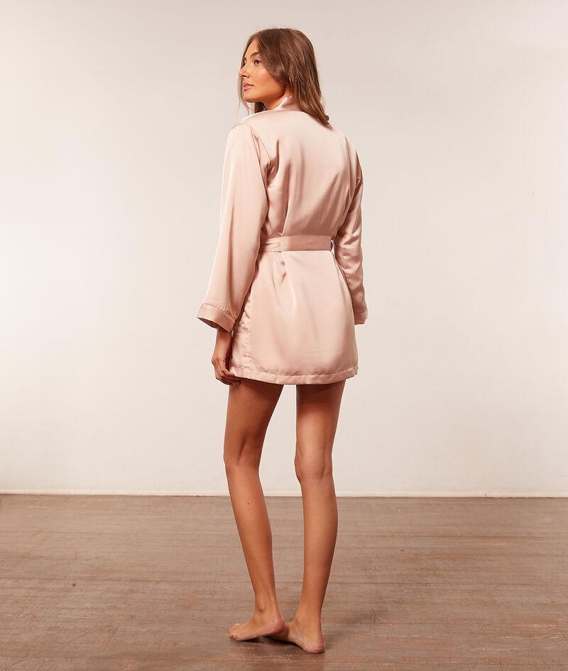 Fleece-lined satin robe ;${refinementColor}