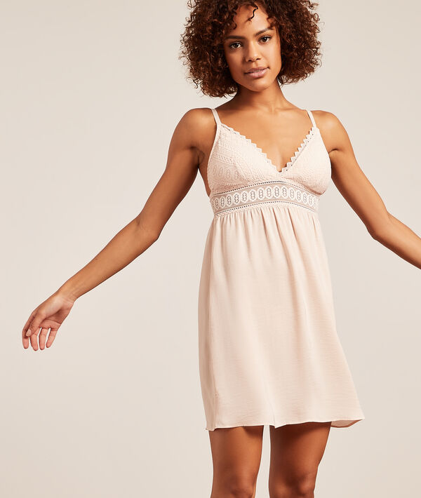Nightdress with lace neckline;${refinementColor}