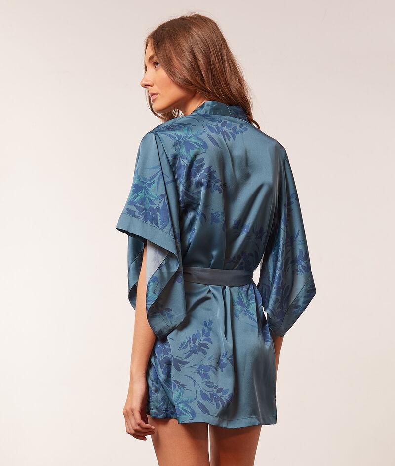 Print satin kimono robe ;${refinementColor}