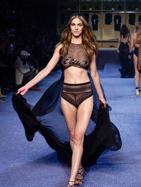 High waist lace brief black.