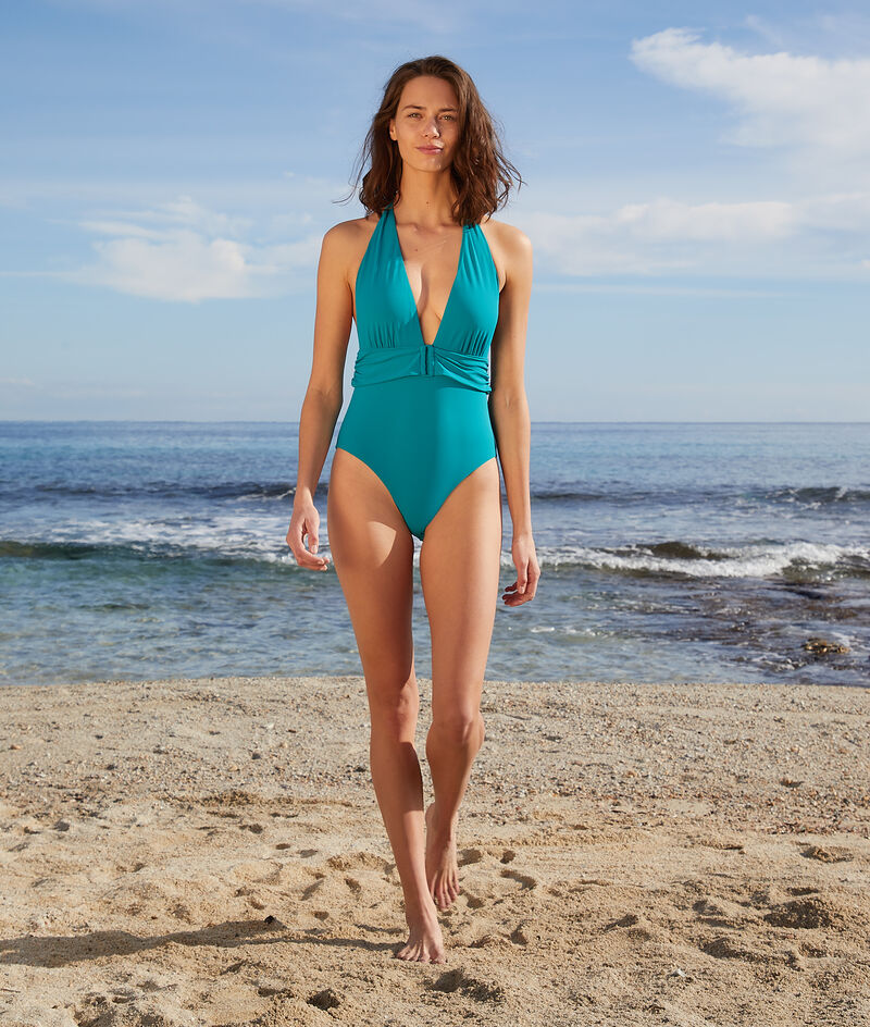 Wireless one-piece halter swimsuit;${refinementColor}
