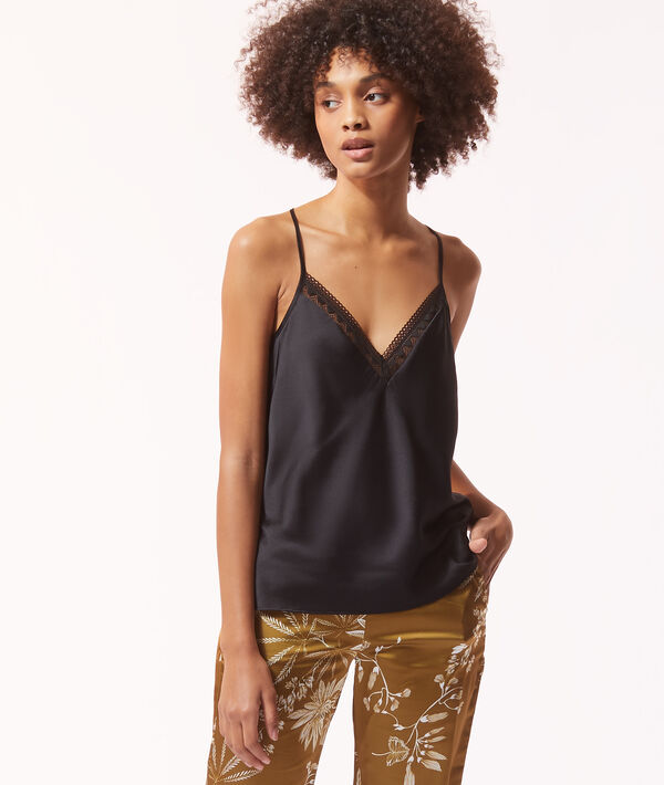 Satin camisole with lace neckline;${refinementColor}