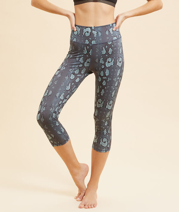 Printed cropped yoga leggings;${refinementColor}