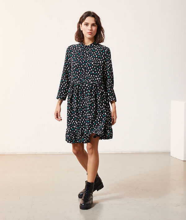 Button through dress in print