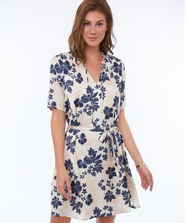 Belted dress with flower print nude.