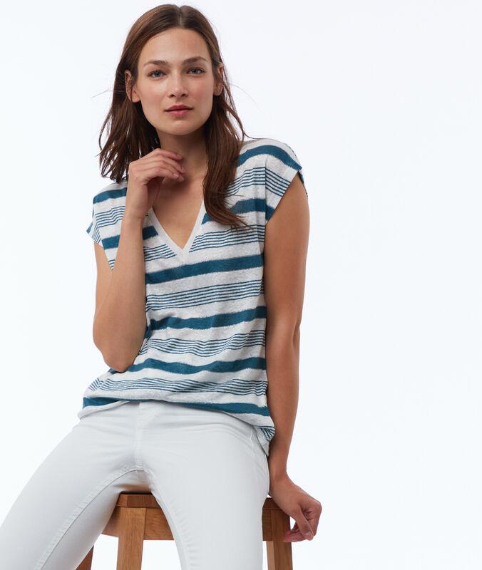 Mixed linen striped t-shirt duck.