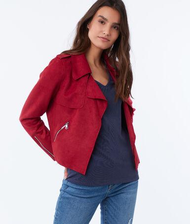 Shawl collar jacket carmine red.