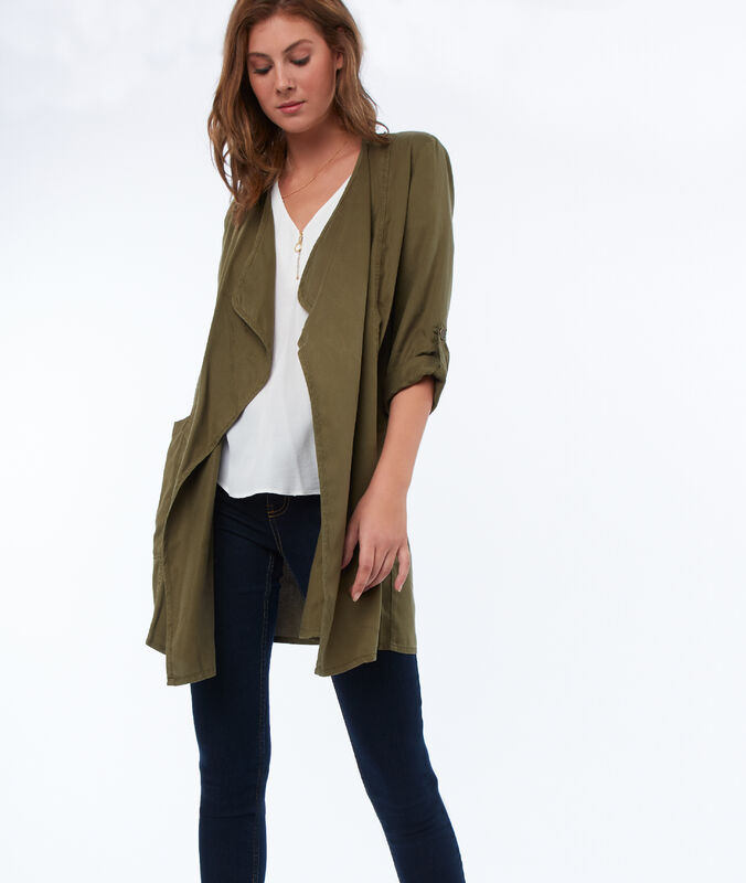 Tencel® mid-length shawl collar jacket khaki.