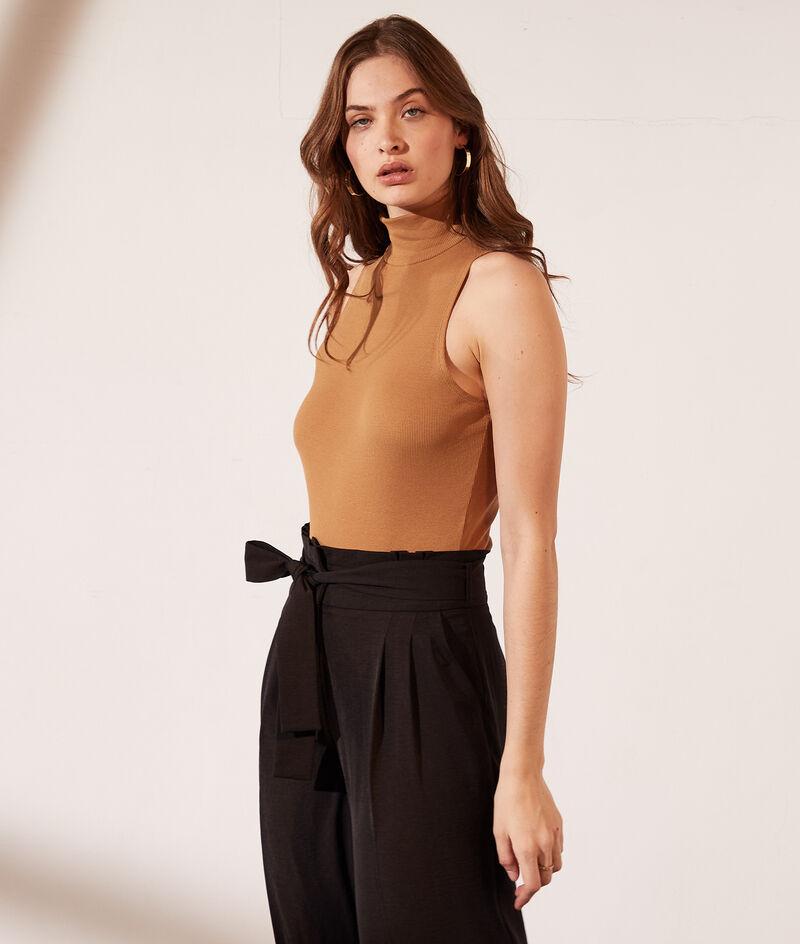 Sleeveless bodysuit with turtleneck in organic cotton