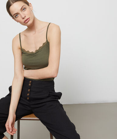 Tank top with hook neckline khaki.