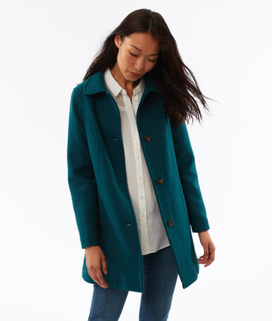 3/4 buttoned mixed wool coat peacock blue.
