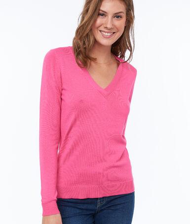 V-neck jumper pink.
