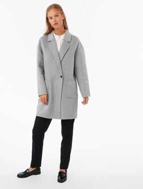 Oversized coat light flecked grey.