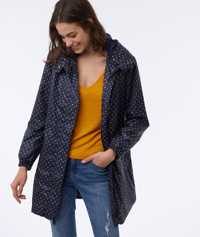 Raincoat with hood navy blue.