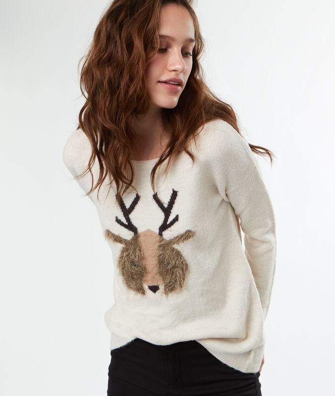 Round neck sweater off white.
