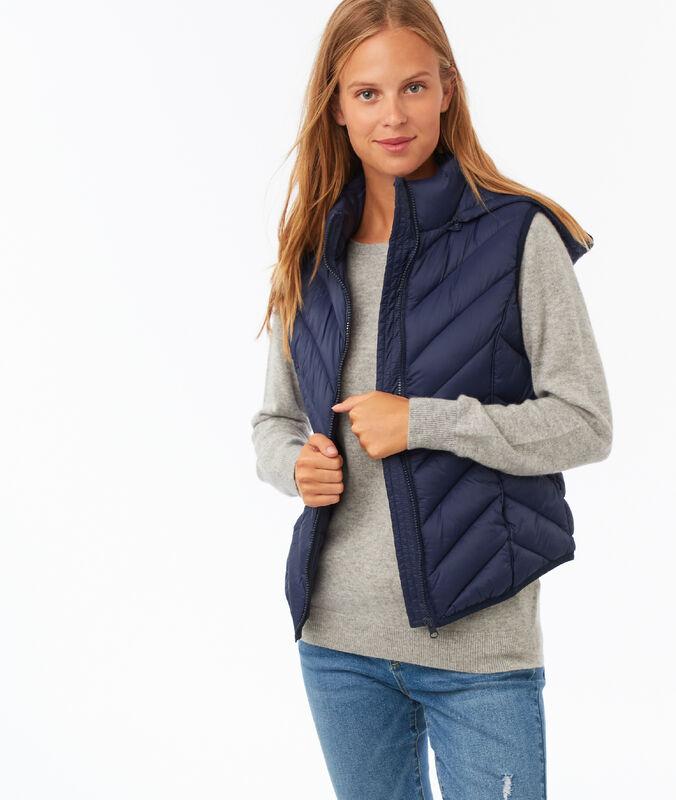 Sleeveless hooded fleece jacket navy blue.