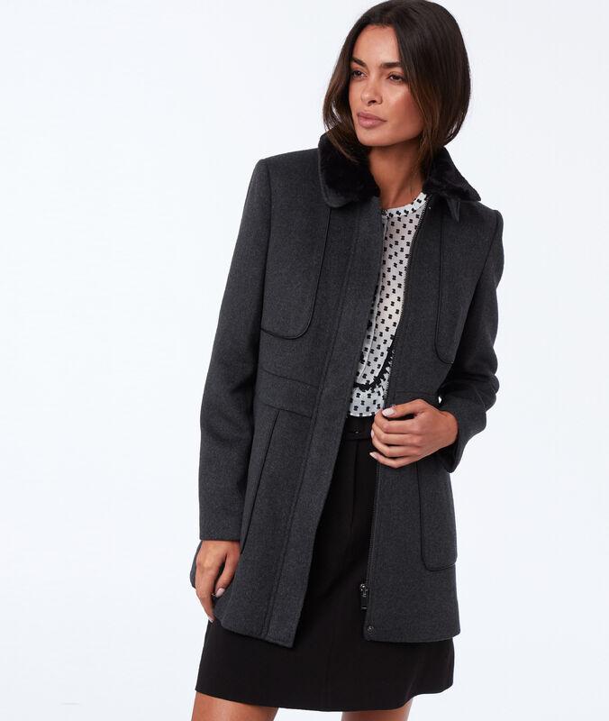 Manteau avec col amovible gris chine fonce.