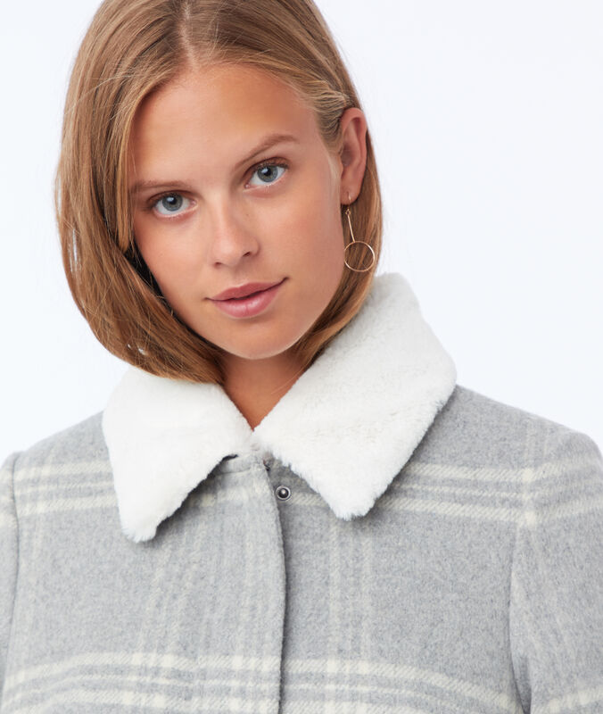 Textured checkered coat light flecked grey.