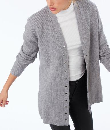 Gilet avec œillets gris clair chiné.