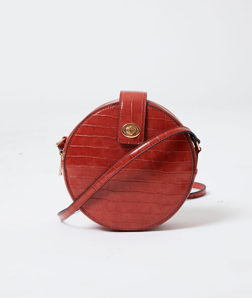 Round shaped bag in croc effect