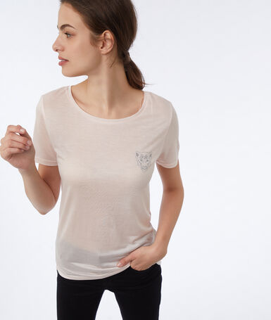 T-shirt with embroidery nude.