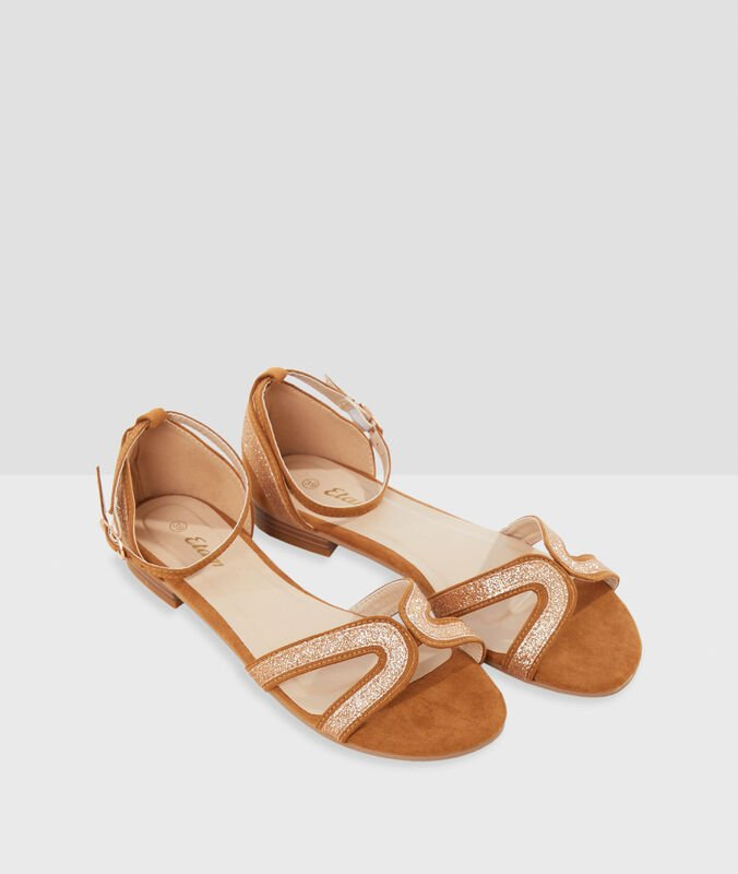Glitter sandals saffron yellow.