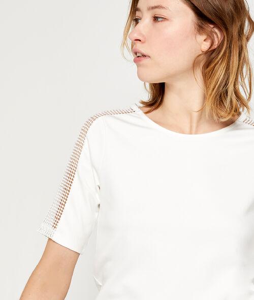 T-shirt dos zippé à manches guipure