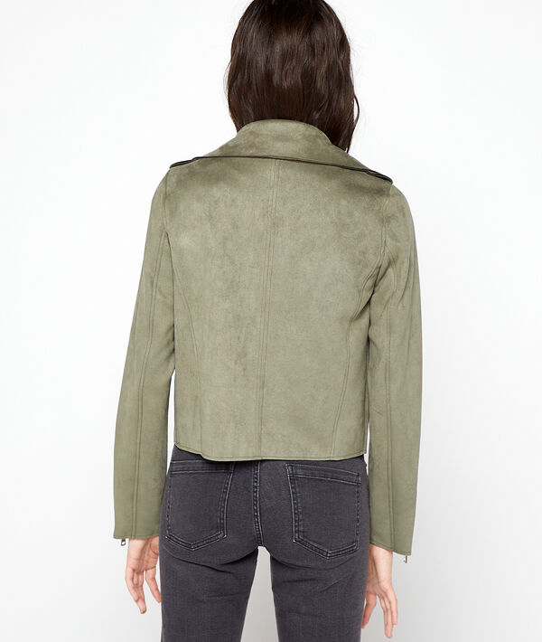 Biker jacket in a suede effect