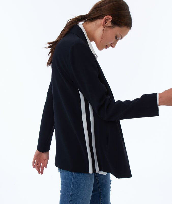Jacket with side stripes navy blue.
