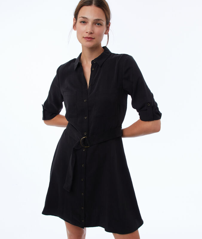Dress with tencel® belt black.