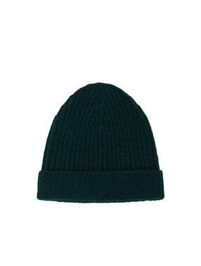 Metallic thread beanie hat forest green.
