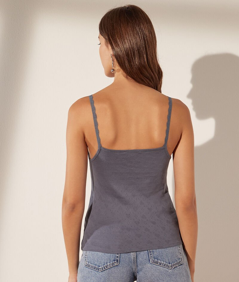 Organic cotton pointelle and lace spaghetti strap tank tops