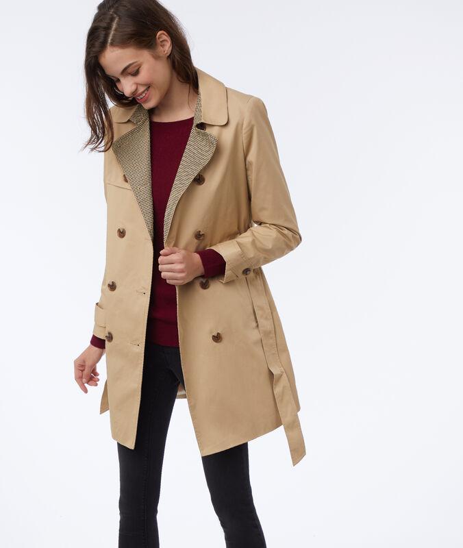 Houndstooth trench coat beige.
