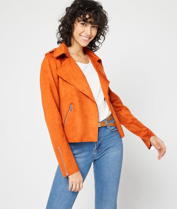 Biker jacket in a suede effect