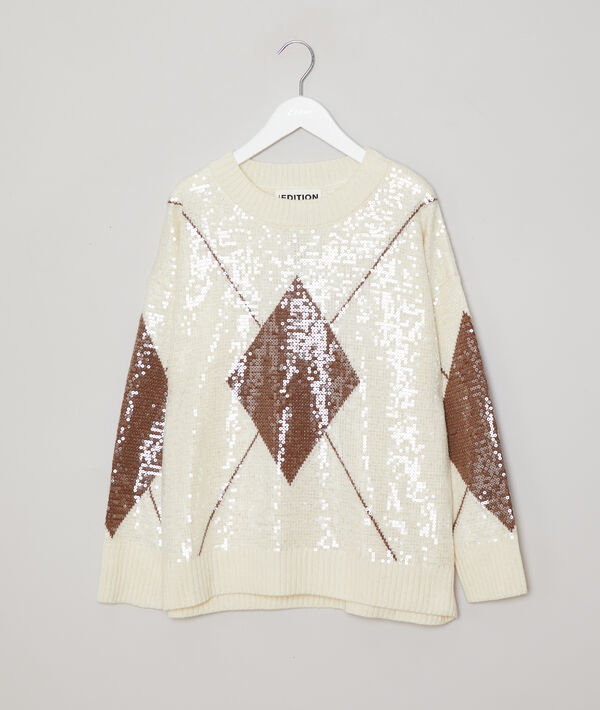 Sequin jumper in graphic print